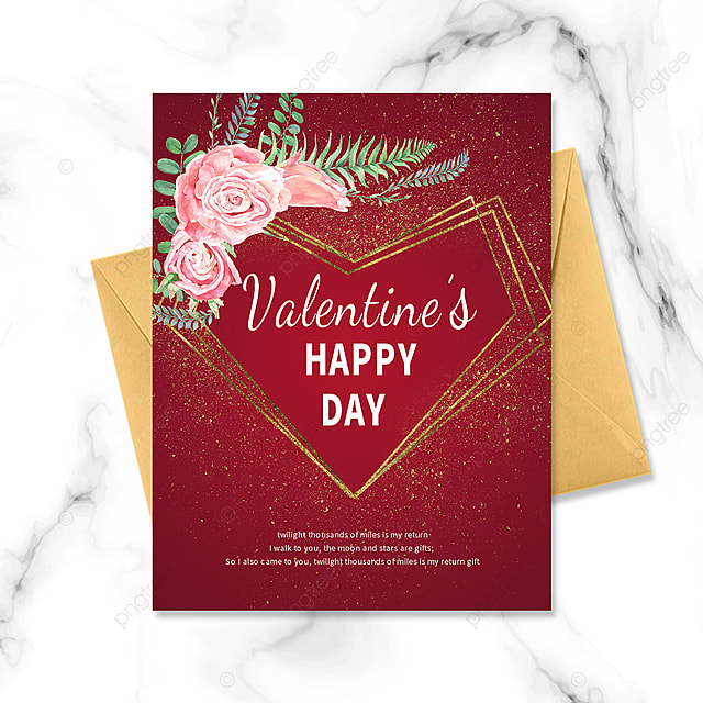 simple red golden border bouquet postcard greeting card