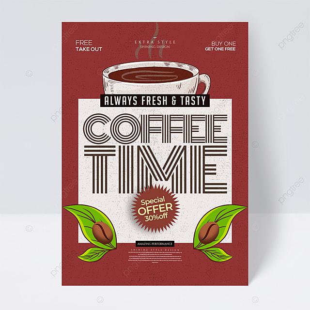 stylish minimalist retro cartoon coffee flyer