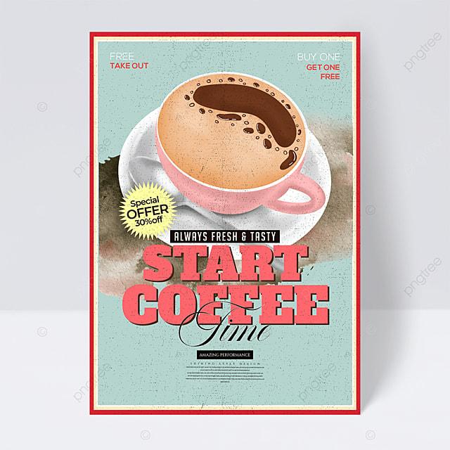 stylish minimalist retro coffee drink flyer