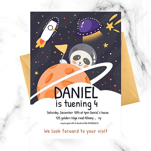 aerospace space birthday party invitation