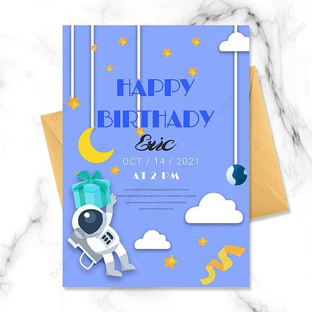 astronaut space baby birthday invitation