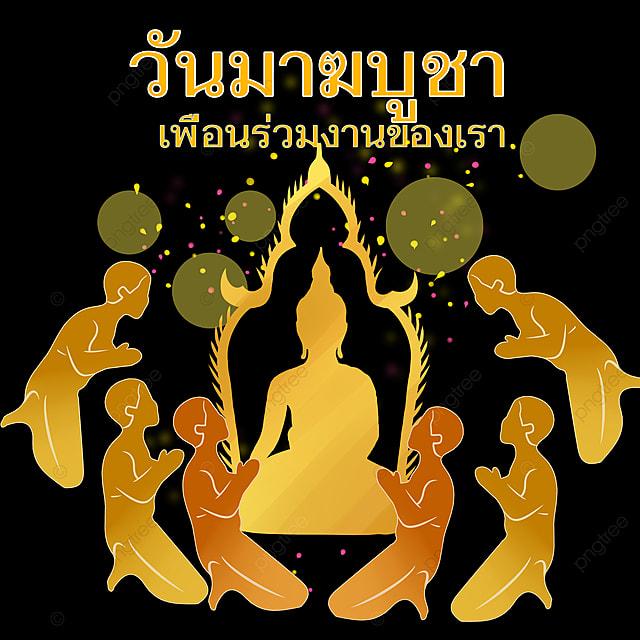 black gold thai buddhism ten thousand buddhas festival poster