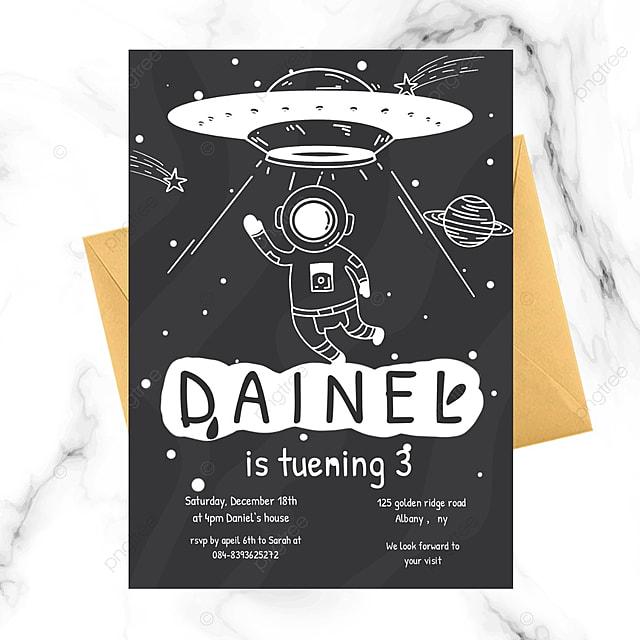 cartoon astronaut space birthday invitation