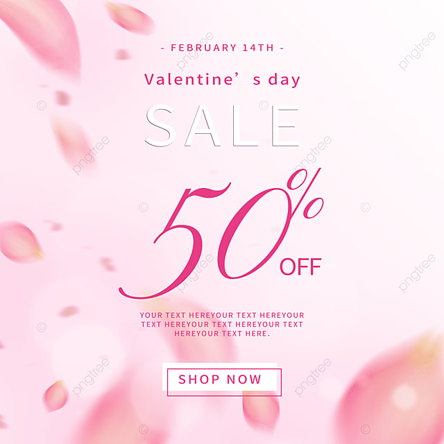 exquisite and fashionable pink petals valentines day promotion social media