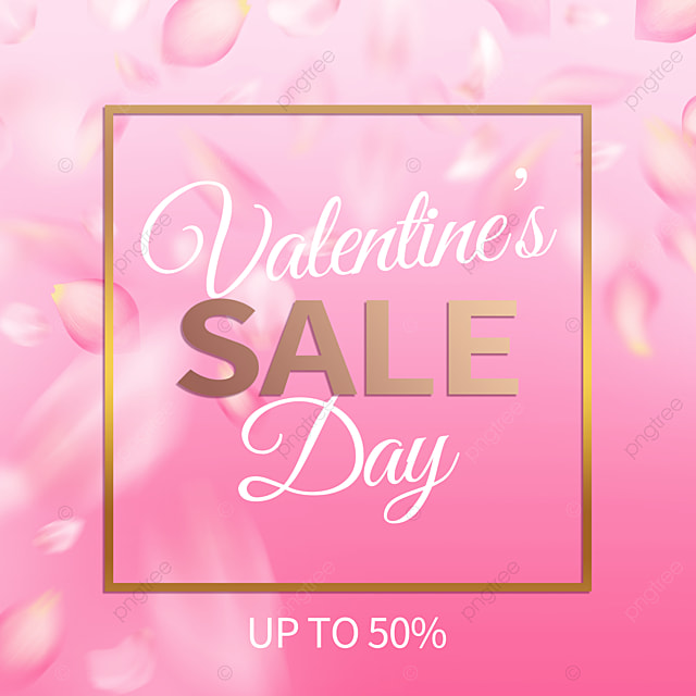 fashion gold frame pink petals valentines day promotion social media