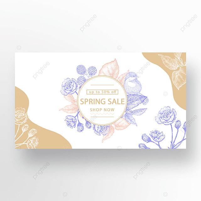 gold powder blue fashion flower plant bird banner