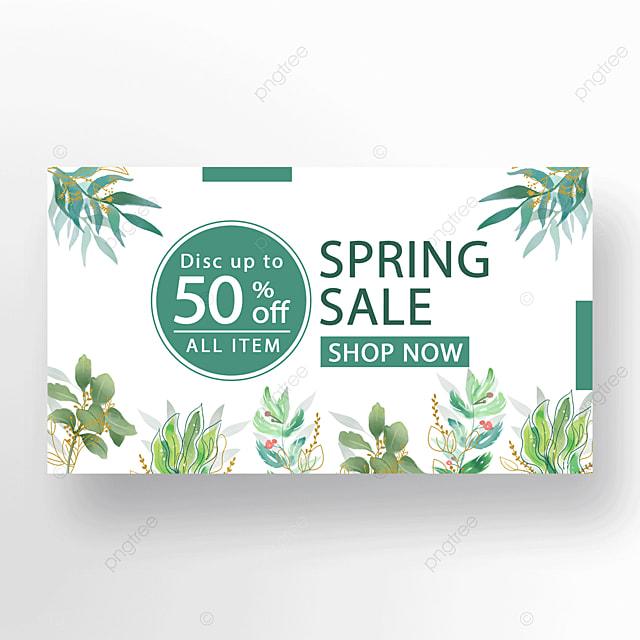 green minimalist floral plant banner
