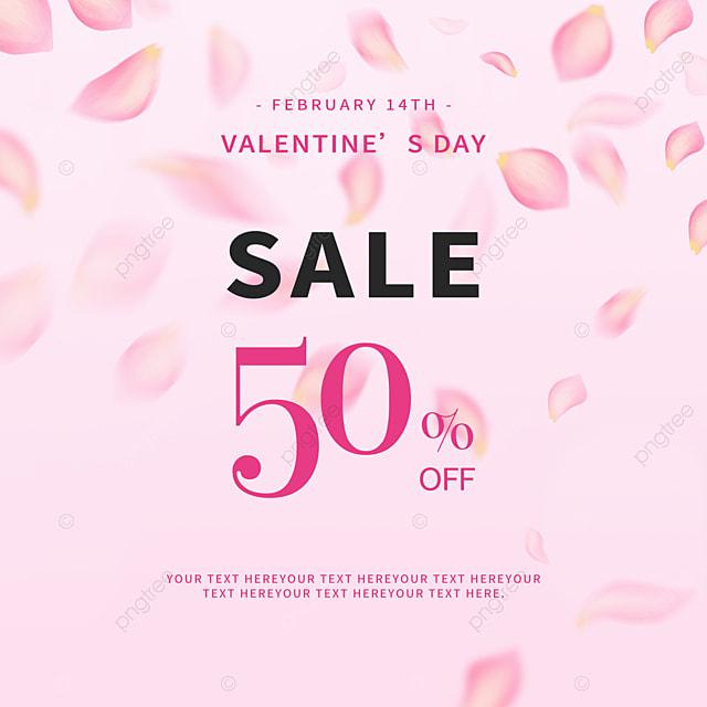 modern fashion pink petals valentines day promotion social media