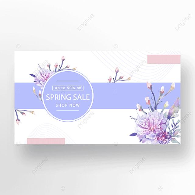 purple pink stylish floral plant banner