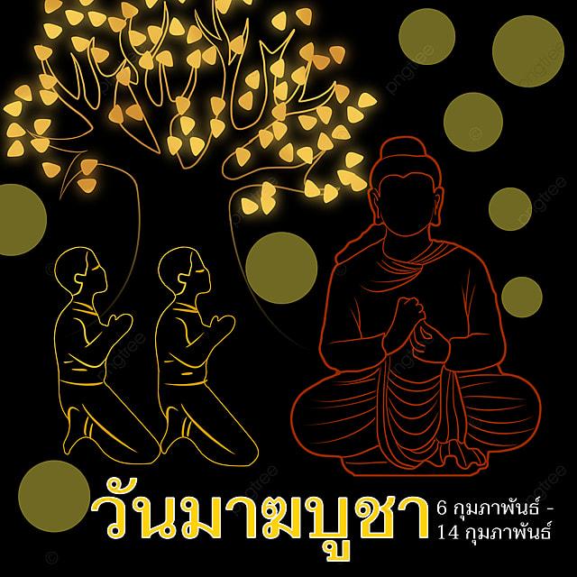 ten thousand buddhas day poster black gold thailand