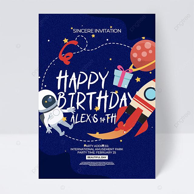 blue cartoon style aerospace space birthday party invitation