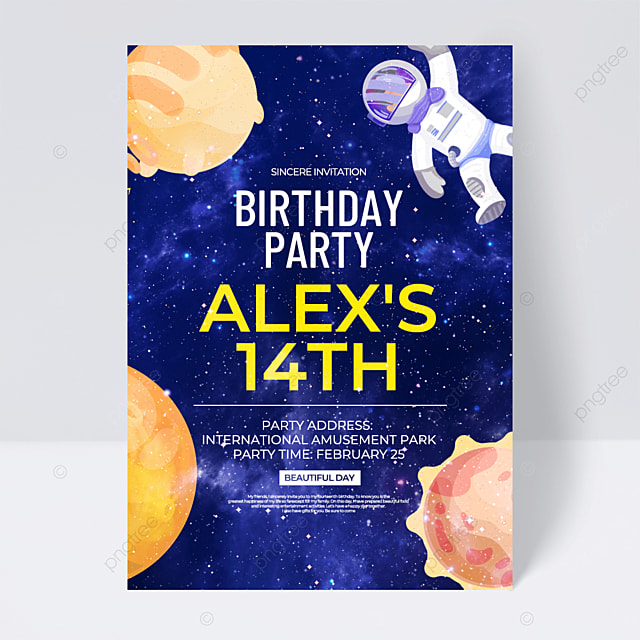 blue starry background aerospace space birthday party invitation