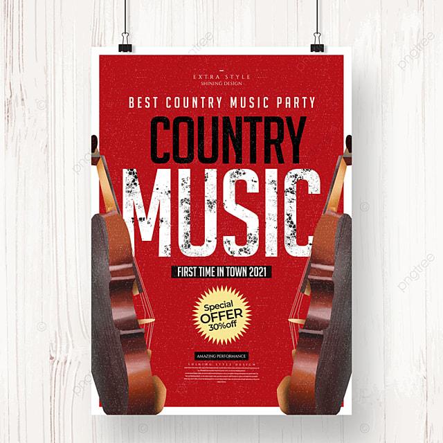 cartoon retro minimalist country music poster