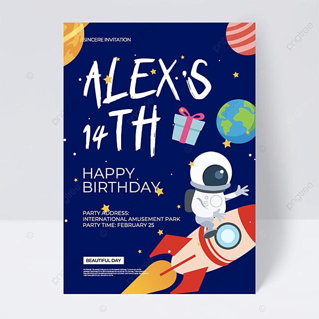 cartoon style blue background creative aerospace space birthday party invitation