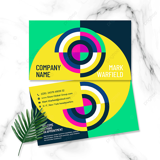 color contrast geometric business personal double sided business card
