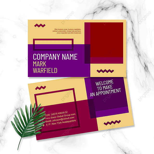 color geometric business personal business card