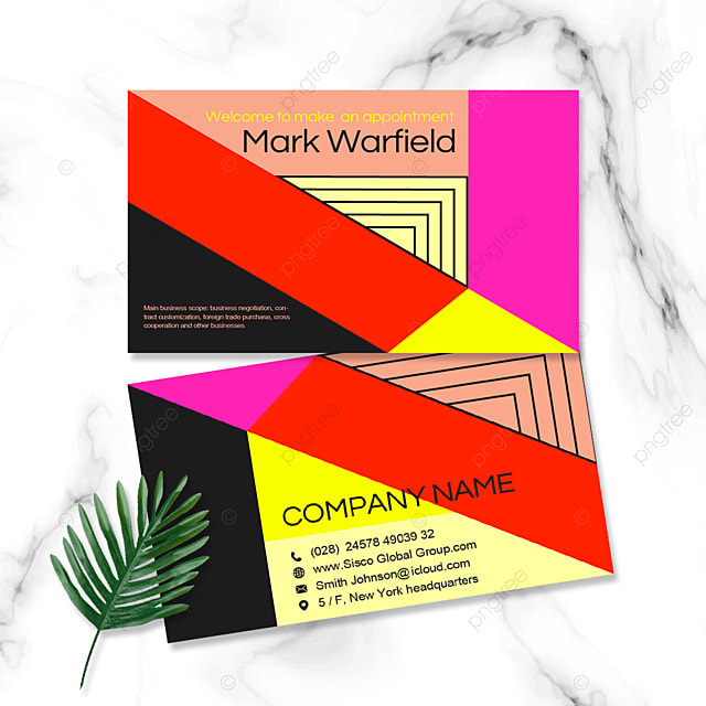 color geometric business personal double sided business card
