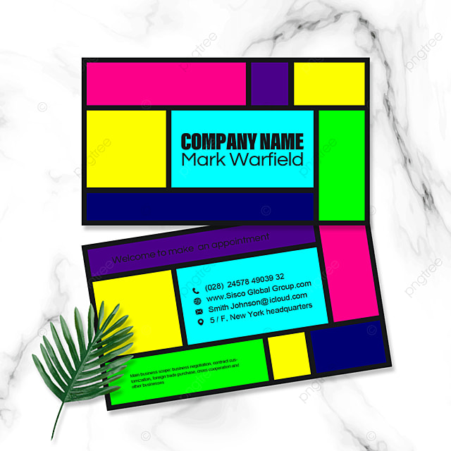 colorful geometric business double sided business card