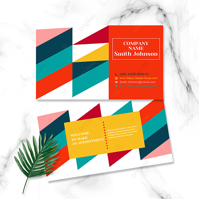 colorful geometric color block business personal business card