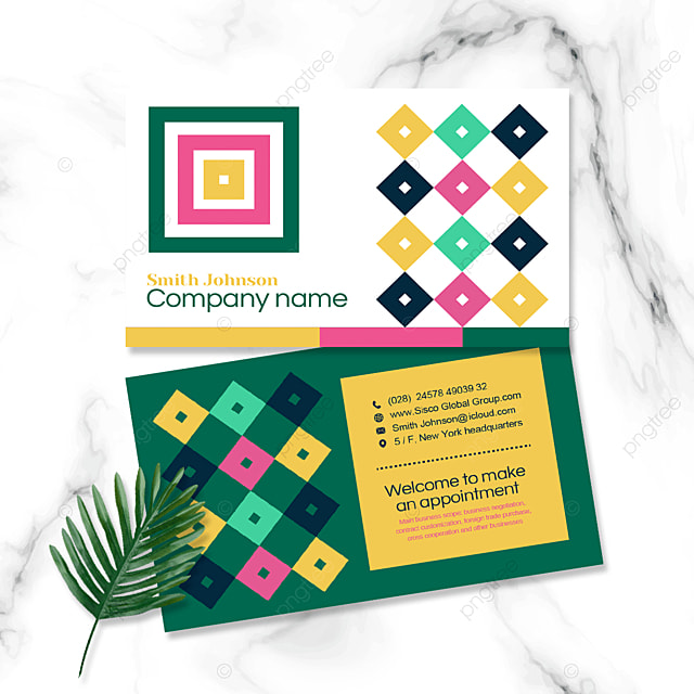 colorful geometric double sided business card
