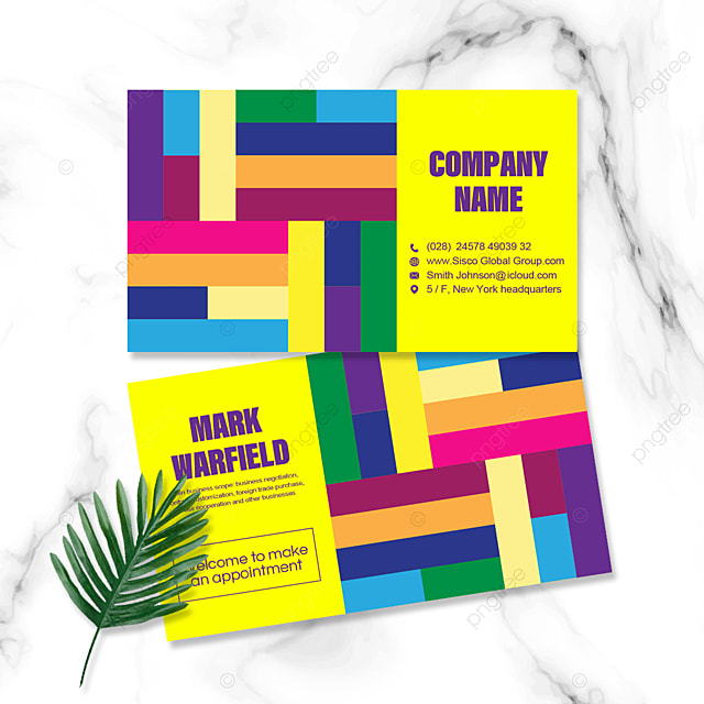 colorful geometric personal business double sided business card
