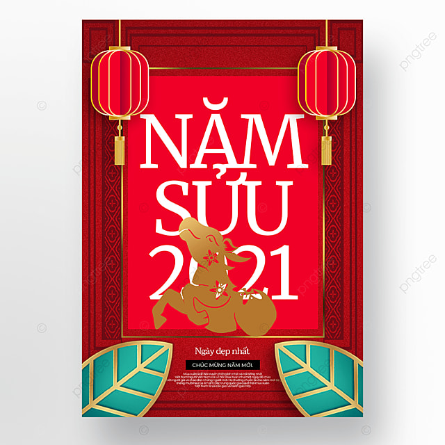 creative and simple vietnamese new year poster template