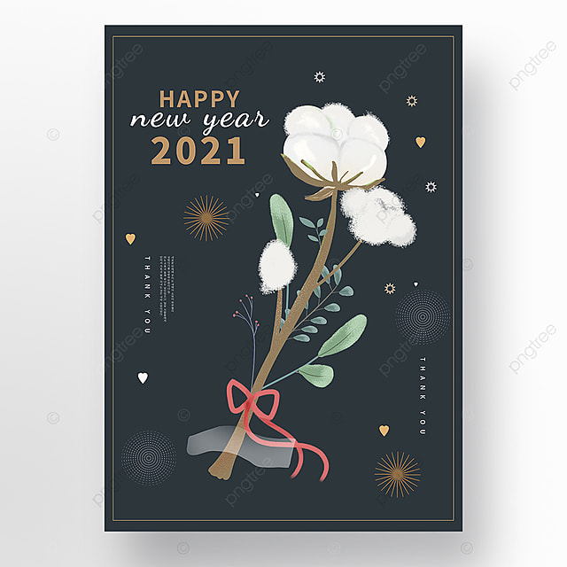creative blooming white cotton new year poster