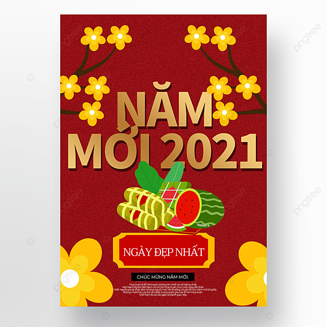 creative red cartoon style vietnamese new year poster template