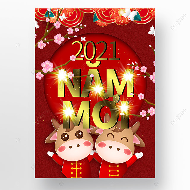 creative red vietnamese new year poster template