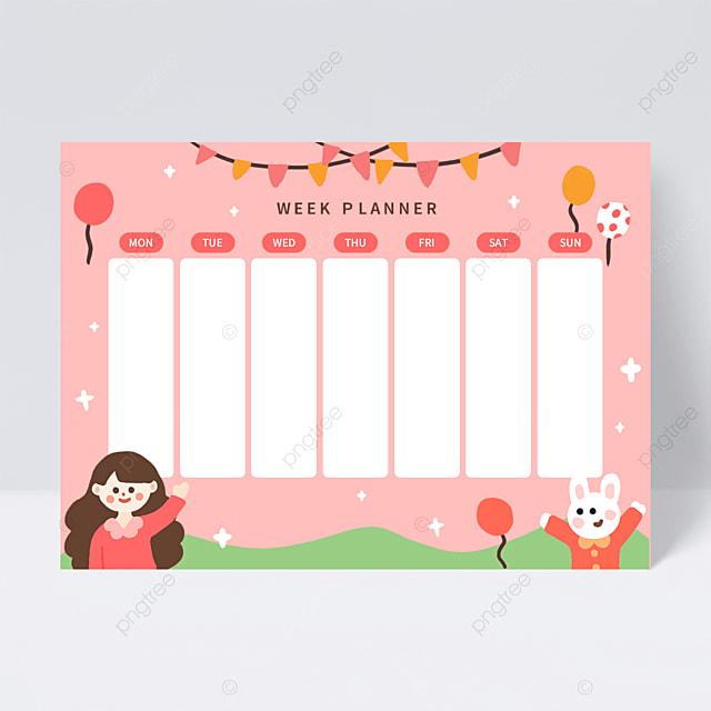 cute pink week planner