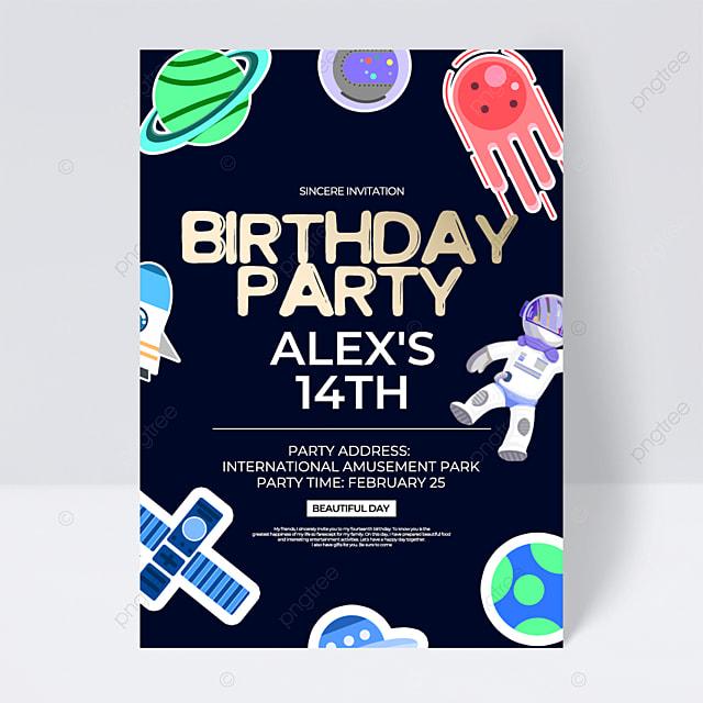 dark creative aerospace space birthday party invitation