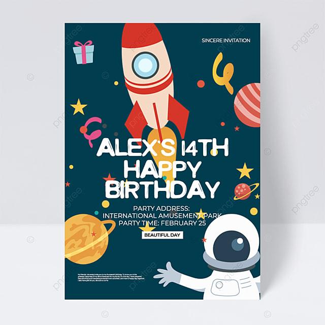 dark green creative aerospace birthday party invitation