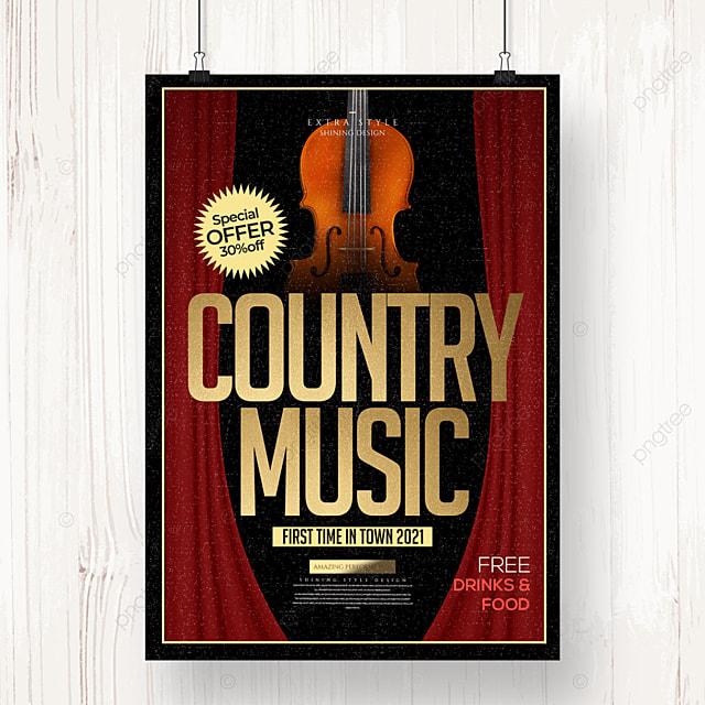 elegant retro minimalist country music poster