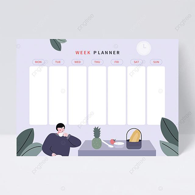 flat illustration afternoon tea week plan