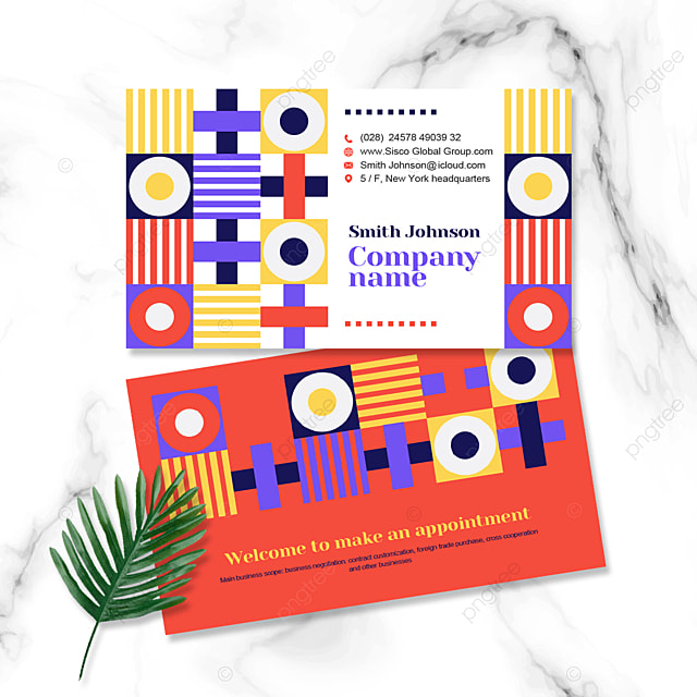 geometric colorful business personal cards