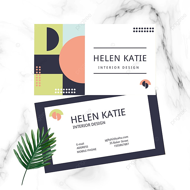geometric colorful double sided business card