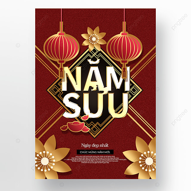golden red exquisite creative vietnamese new year poster template