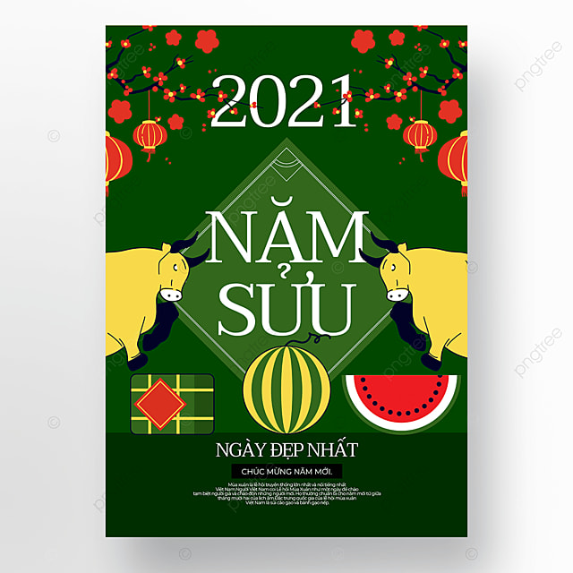 green background vietnamese new year poster template