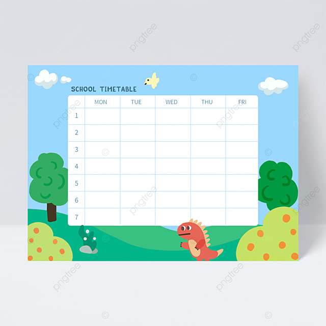 green cartoon cute dinosaur school schedule