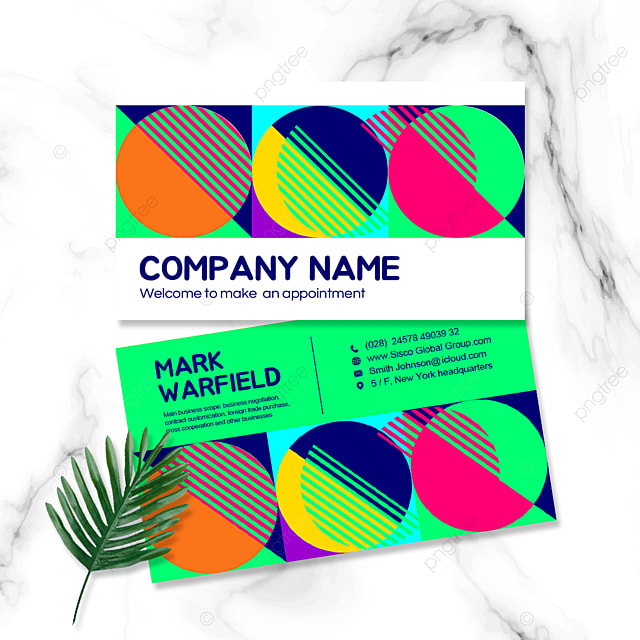 green geometric personal business double sided business card