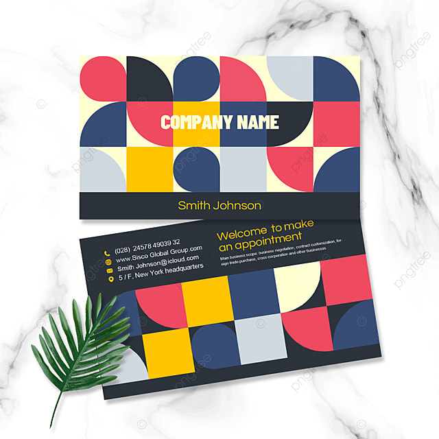 multi color block business personal double sided business card