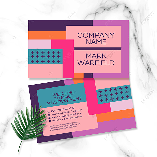 multi color block personal business double sided business cards