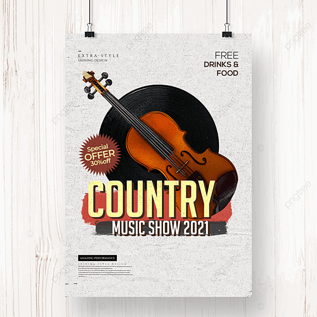 personality retro country music party poster