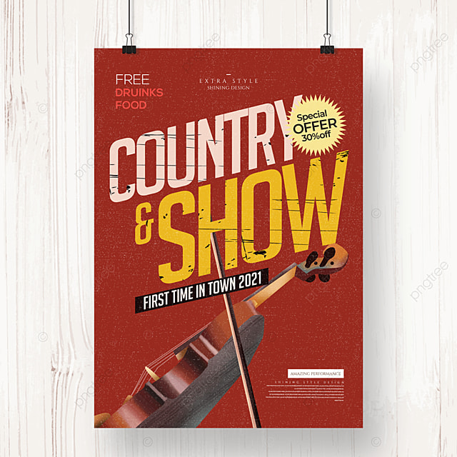 personality retro simple country music poster