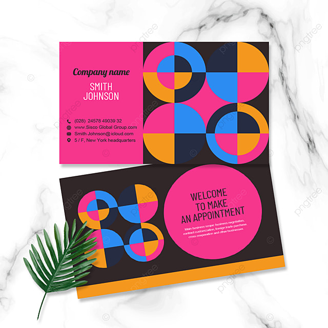 pink geometric personal business double sided business card