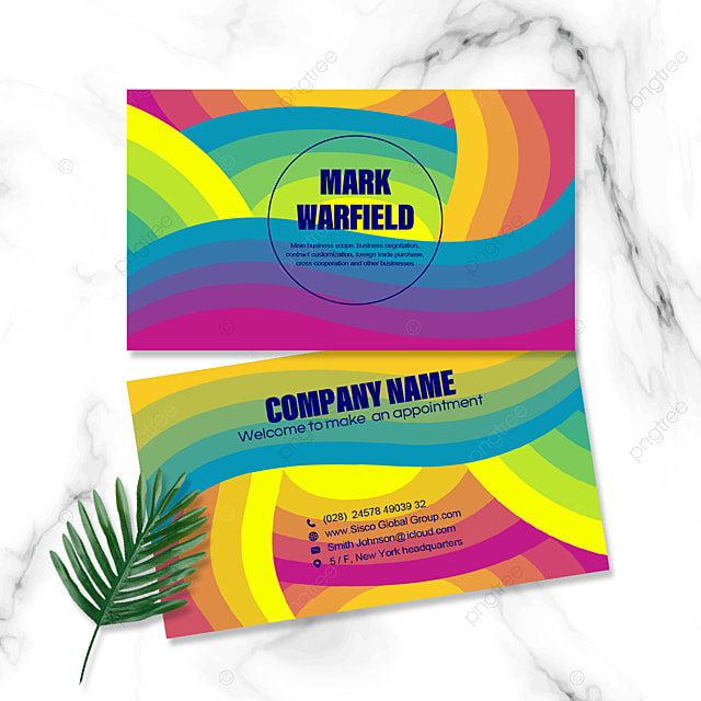 rainbow color geometric personal business card