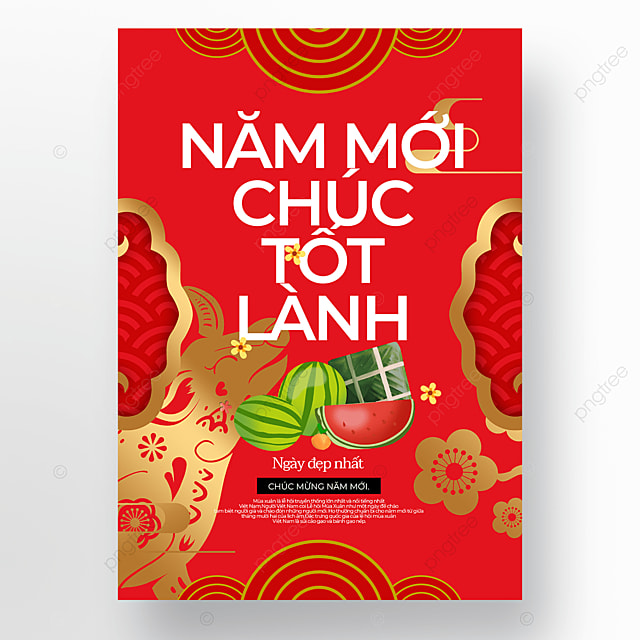 red creative exquisite vietnamese new year poster template