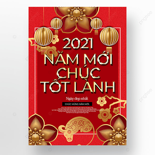 red exquisite vietnamese new year poster template