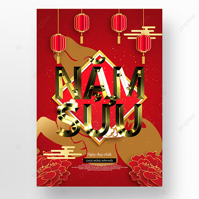 red gold vietnam new year poster template