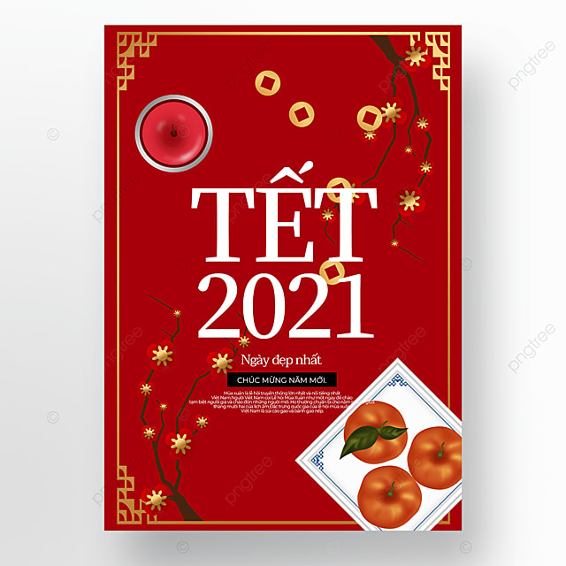 red simple creative vietnamese new year poster template